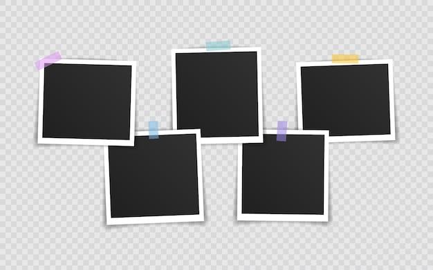 Foto lijstje . super set fotolijst op plakband geïsoleerd op transparante achtergrond. vector illustratie.