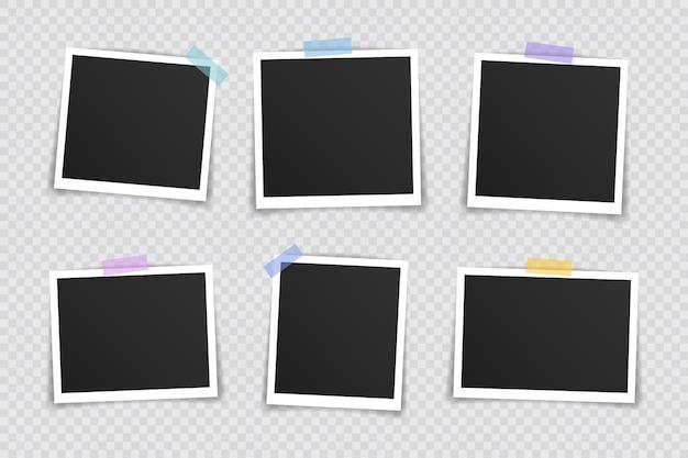 Foto lijstje . super set fotolijst op plakband op transparante achtergrond. vector illustratie.