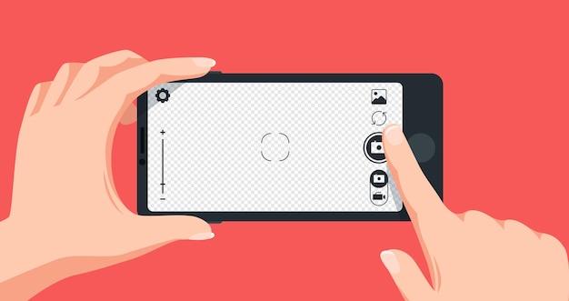 Foto maken met smartphone. vinger die het scherm van de mobiele telefoon aanraakt om een foto te maken