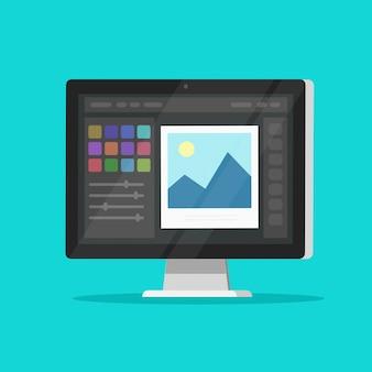 Foto of grafische editor op desktop computer pc monitor platte cartoon geïsoleerd