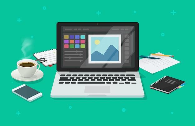 Foto of grafische editor op laptop computer kantoor werk bureau platte cartoon illustratie