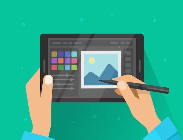 Foto of grafische redacteur met ontwerperhanden die aan vlak het beeldverhaal modern ontwerp van de tabletillustratie werken