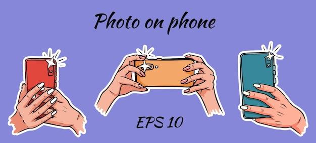 Foto op de telefoon. selfie. telefoon bij de hand. momentopname op een smartphone. cartoon-stijl. stickers.