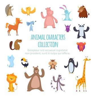 Foto's met verschillende tekenfilm dieren