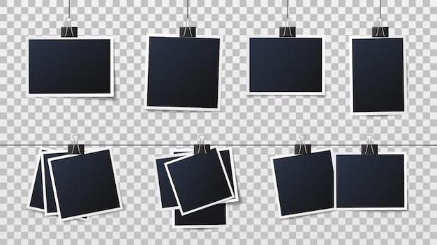 Foto's op clips. vintage fotolijst, ingelijste foto en frames op pinnen sjabloon vectorillustratie