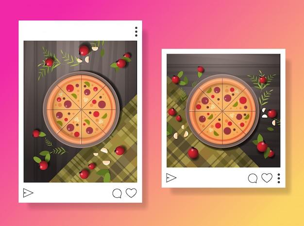 Foto's van bereide smakelijke pizza voor blog eten bloggen social media concept food hunter review horizontaal