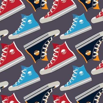 Foto's van gekleurde sneakers. vector naadloos patroon met de schoenveterillustratie van het manierschoeisel