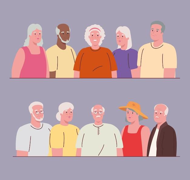 Foto's van oude mensen verenigd