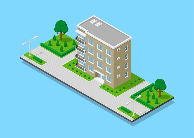Foto van appartent huis met voetpaden, bomen en straatverlichting, laag poly stadsgebouw, isometrisch pictogram of infographic element voor het maken van stadsplattegronden