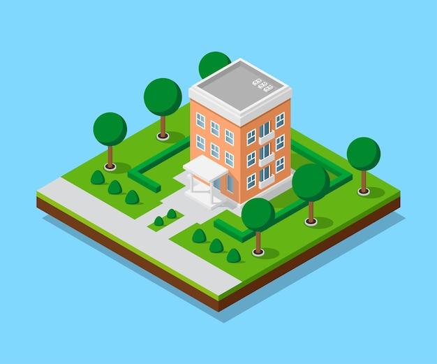 Foto van appartent huis met voetpaden en bomen, laag poly stadsgebouw, isometrisch pictogram of infographic element voor het maken van een stadsplattegrond