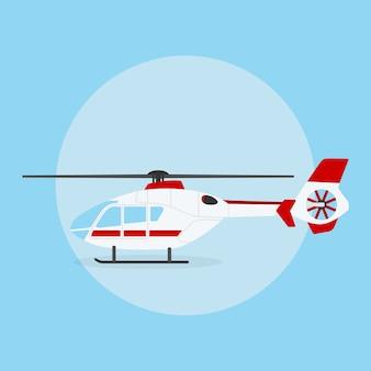 Foto van civiele helikopter op blauwe achtergrond, stijl illustratie