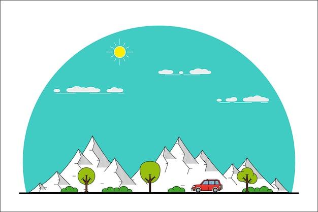 Foto van een auto die vooraan op berglandschap rijdt,