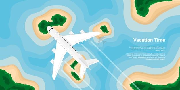 Foto van een burgervliegtuig dat boven de eilanden vliegt, stijlillustratie, banner voor zaken, website enz., reizen, vakantie, rond de wereldconcept