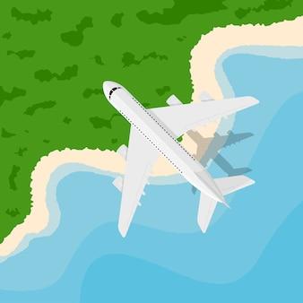 Foto van een burgervliegtuig dat boven de kust vliegt, stijlillustratie, banner voor zaken, webzijde enz., reizen, vakantie, rond de wereldconcept