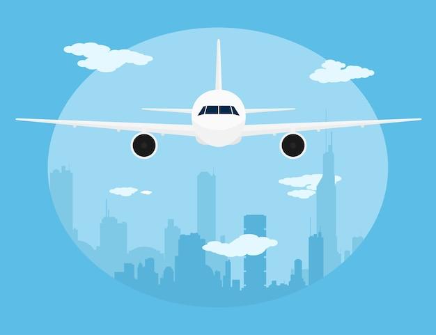 Foto van een burgervliegtuig voor grote stadssillhoette, stijlillustratie
