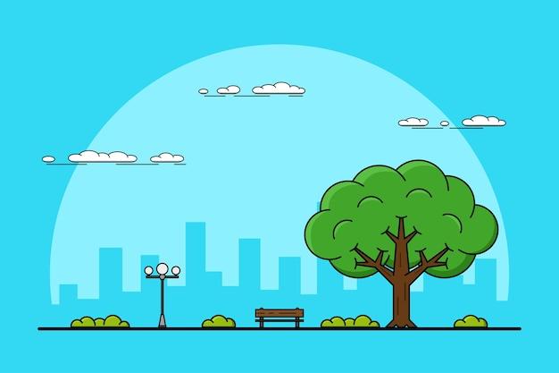 Foto van een grote boom, bank en straatlantaarn, parken en buitenshuis concept, dun