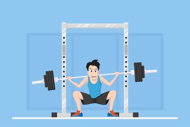 Foto van een man die squats doet met een halter op de nek. karikatuur bodybuilder newbie character design, vlakke stijl illustratie.
