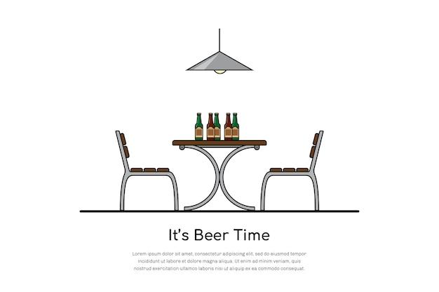 Foto van een tafel met twee stoelen en bierflesjes, bier tijd concept,