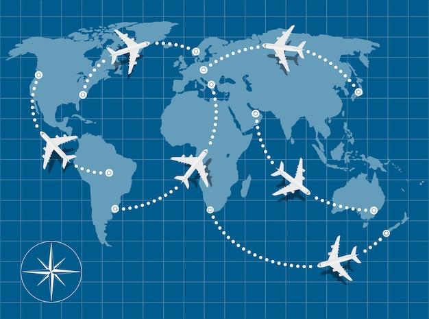Foto van een wereldkaart met vliegende vliegtuigen erop