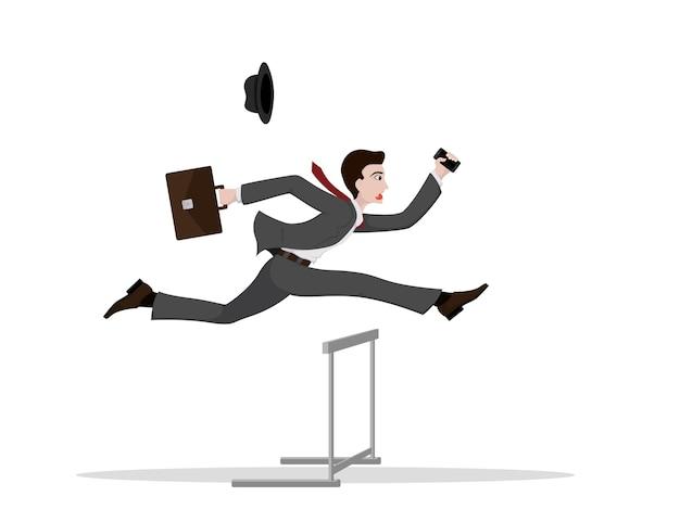 Foto van een zakenman met aktetas en smartphone die hoger over de hindernis springt,