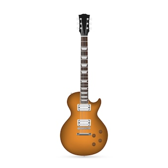 Foto van elektrische gitaar op witte achtergrond