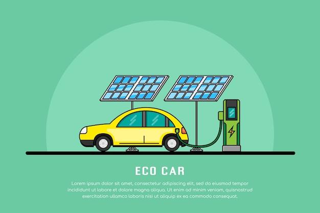 Foto van het opladen van de elektrische auto bij het laadstation, het concept van elektromobiliteit, de lijnbanner van eco-auto's
