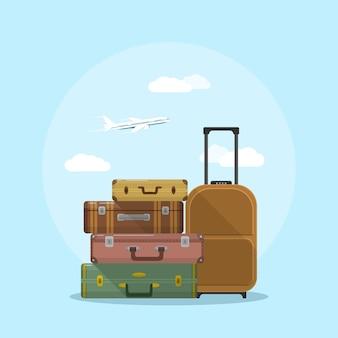Foto van kofferstapel met wolken en vliegtuig op achtergrond, stijlillustratie, vakantie en reisconcept