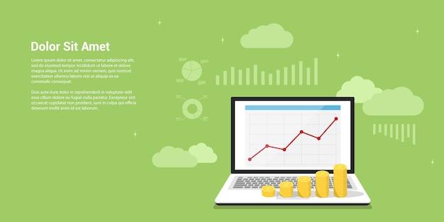 Foto van laptop met grafiek op het scherm en muntstapels erop. stijl banner. bedrijfsgroei, analyse, ontwikkeling, strategieconcept.