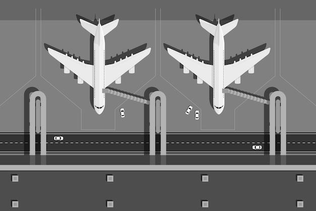 Foto van luchthaventerminal met twee vliegtuigen, bovenaanzicht, stijlillustratie
