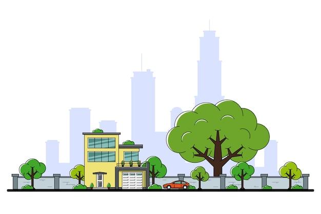 Foto van moderne particuliere woonhuis met auto, bomen en grote stad silhouet op achtergrond, onroerend goed en bouw industrie concept,
