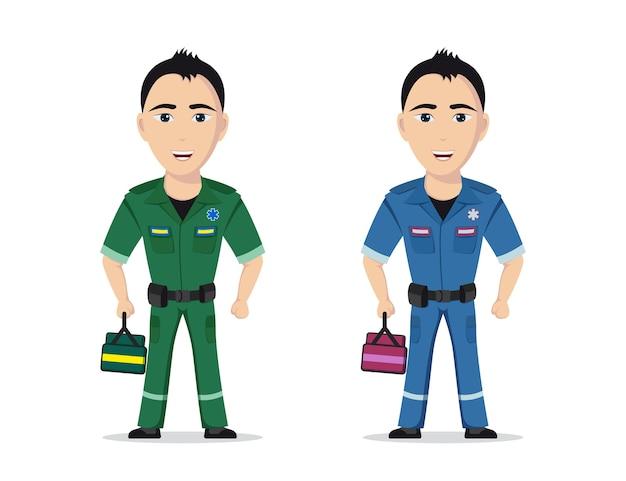 Foto van paramedicus op witte achtergrond