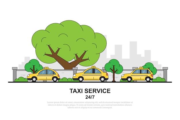 Foto van taxiauto voor stadssilhouet, banner van het taxiserviceconcept,