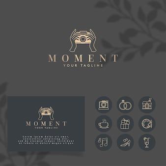 Foto vrouwelijk minimalistisch logo bewerkbare sjabloon