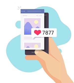 Fotoafbeeldingen delen van foto's online met likes-opmerkingen met een app voor een sociaal netwerk voor mobiele telefoons