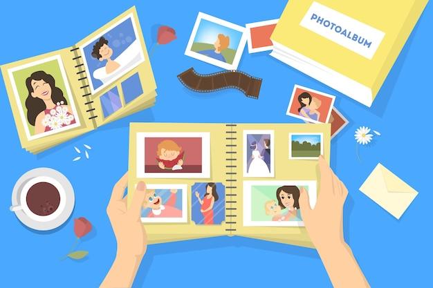 Fotoalbum met familiefoto's. fotografie met blije mensen. goed geheugen. illustratie.