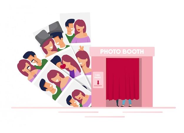 Fotocabine voor paren met foto's van mannen en vrouwen