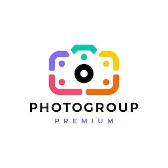 Fotocamera mensen team gemeenschap groep familie diversiteit logo