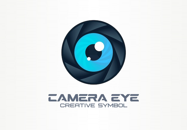 Fotocamera oog, digitale visie creatief symbool concept. cctv, video monitoring abstract bedrijfslogo idee. diafragma, sluiter lens icoon