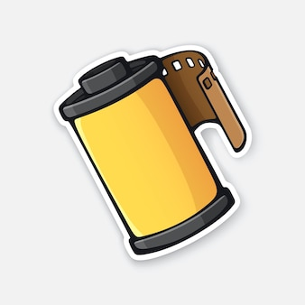 Fotofilm in gele cartridge fotografische rolfilm vectorillustratie