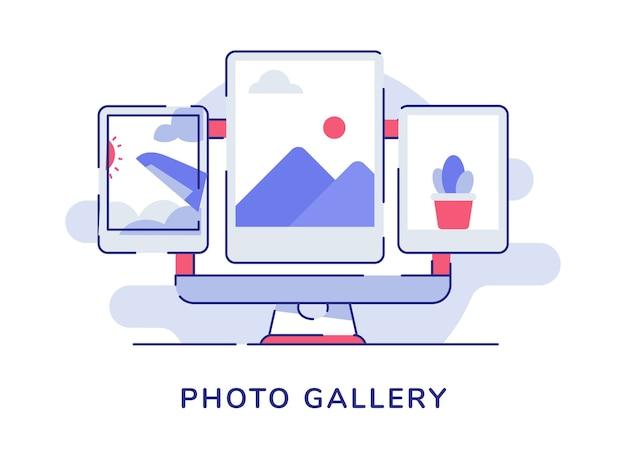 Fotogalerij fotoalbum op beeldschermcomputer