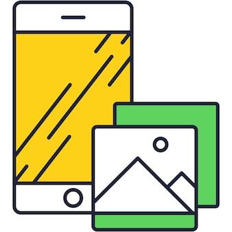 Fotogalerij van mobiele camera op telefoon vector