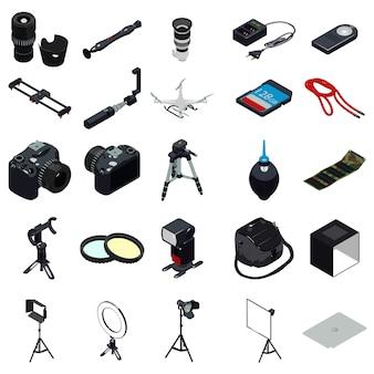 Fotograaf apparatuur iconen set, eenvoudige stijl
