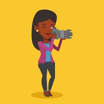 Fotograaf die fotoillustratie neemt.
