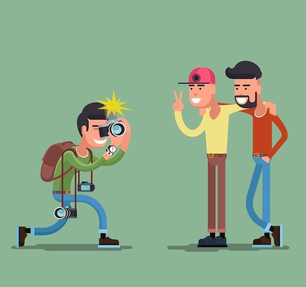 Fotograaf die mensen fotografeert. camera en fotografie, professionele persoon, man vriend glimlach.