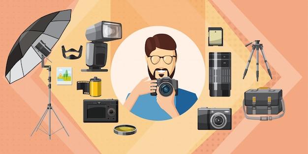 Fotograaf hulpmiddel achtergrond horizontaal, cartoon stijl