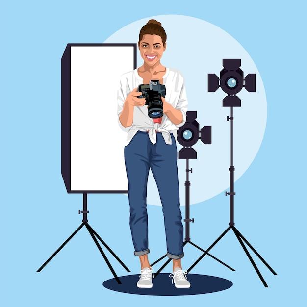 Fotograaf in een fotostudio