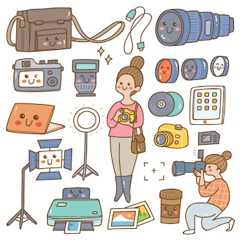 Fotograaf met apparatuur kawaii doodle
