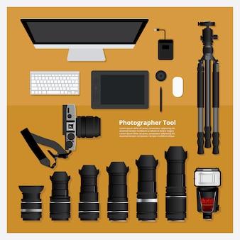 Fotograaf tool vector illustratio