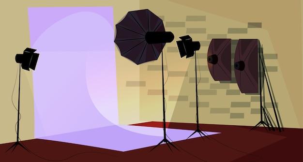 Fotograaf werkplek illustratie, professionele fotostudio interieur.
