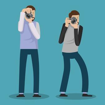 Fotograafpersonage maakt foto